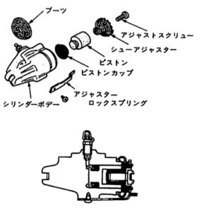 Single piston type wheel cylinder